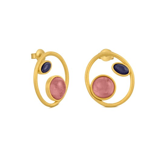 Joidart Alegria Circle With Mauve And Black Earrings