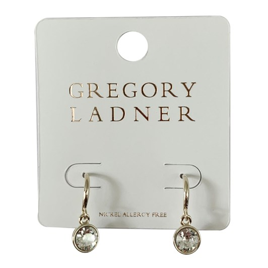 Gregory Ladner Gl Bezel Cz Drop Earring Gold