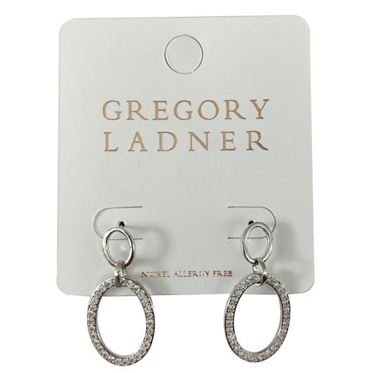 Gregory Ladner Gl Oval Cz Drop Earring Rhodium