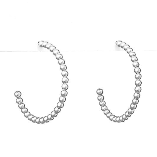 Stella + Gemma Earrings Silver Bead Hoop