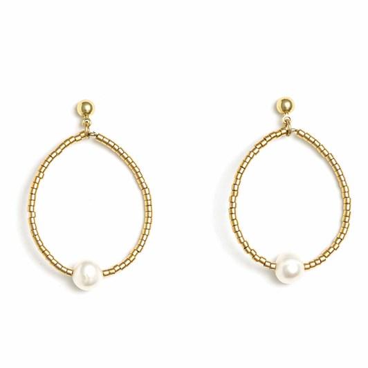 Stella + Gemma Earrings Gold Hoop W/Pearl