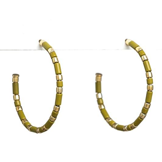 Stella + Gemma Earrings Enamel Olive/Gold