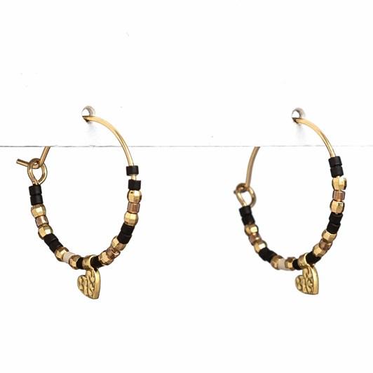 Stella + Gemma Earrings Miyuki Bead Hoop Black