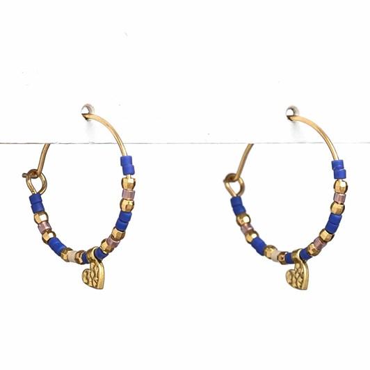 Stella + Gemma Earrings Miyuki Bead Hoop Navy