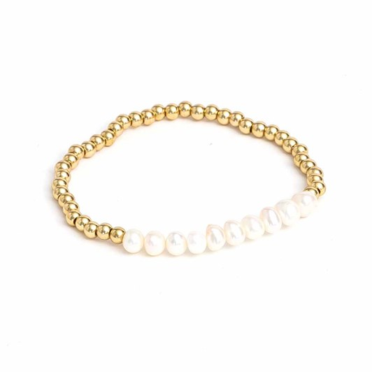 Stella + Gemma Bracelet Pearl/Gold Beads Set of 2