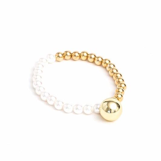 Stella + Gemma Bracelet Gold Bead/Pearl W/Ball