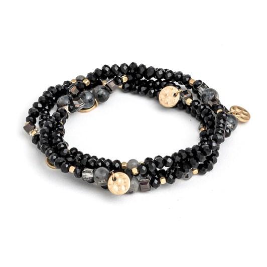 Stella + Gemma Bracelet Set Black Beads W/Gold Charms