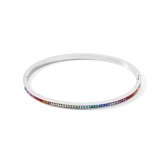 Coeur De Lion Multicoloured Crystal Bangle Stainless Steel 19Cm
