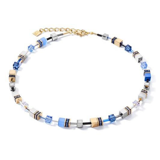 Coeur De Lion Geo Cube Dusky Sky Blue, White & Gold Necklace