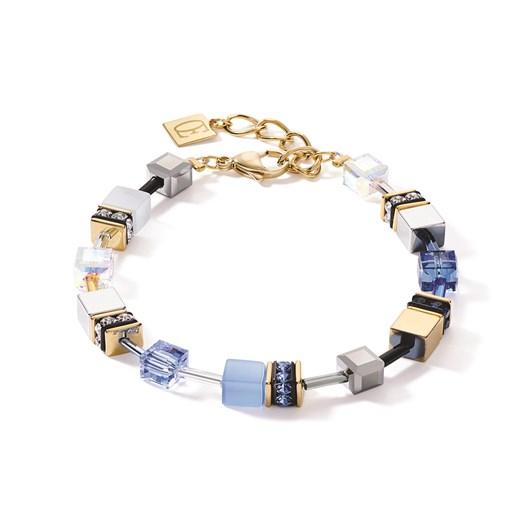 Coeur De Lion Geo Cube Dusky Sky Blue, White & Gold Bracelet
