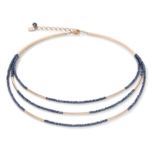 Coeur De Lion Shimmering Anthracite Glass & Rose Gold Necklace