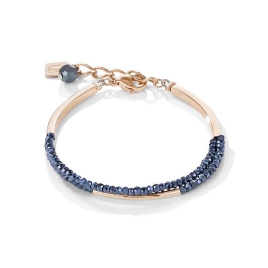 Coeur De Lion Shimmering Anthracite Glass & Rose Gold Bracelet