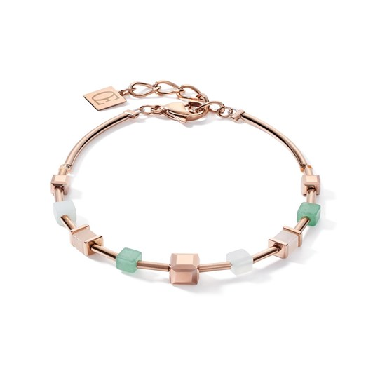 Coeur De Lion Geo Cube Soft Pink & Green Aventurine Bracelet