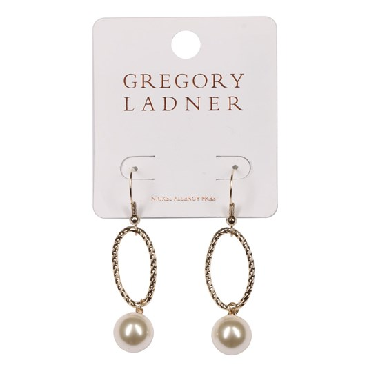 Gregory Ladner Gl Textured Oval Drop With Pearl Gold