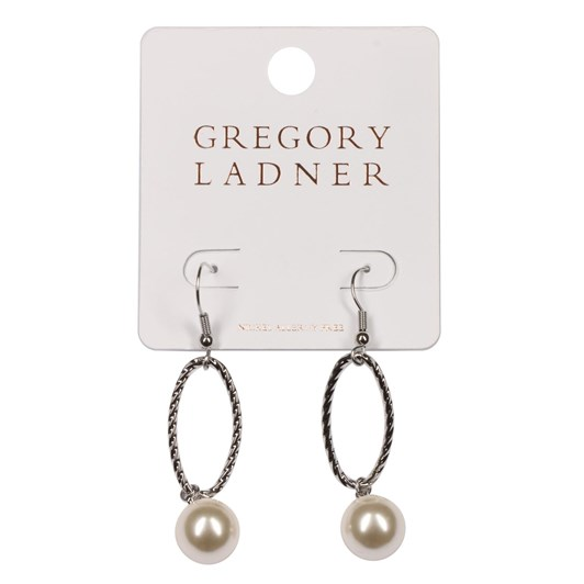 Gregory Ladner Gl Textured Oval Drop With Pearl Rhodium