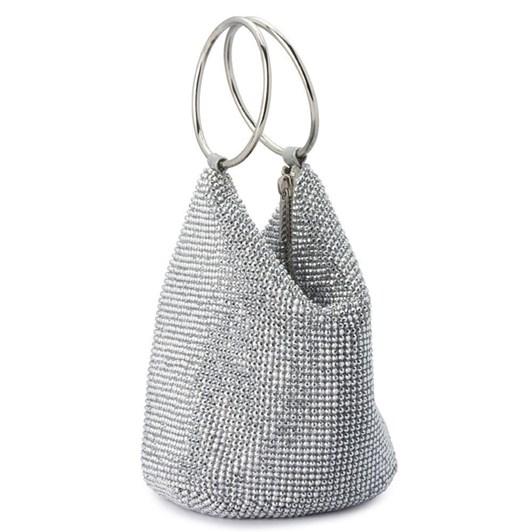 Olga Berg Ellie Crystal Mesh Handle Bag