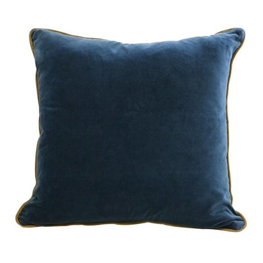 CC Interiors Indigo Blue And Gold Velvet Cushion 50x50cm