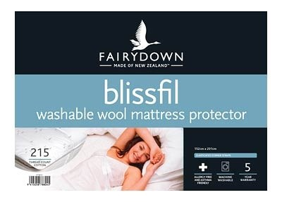 Fairydown Blissfil Washable Wool Mattress Protector