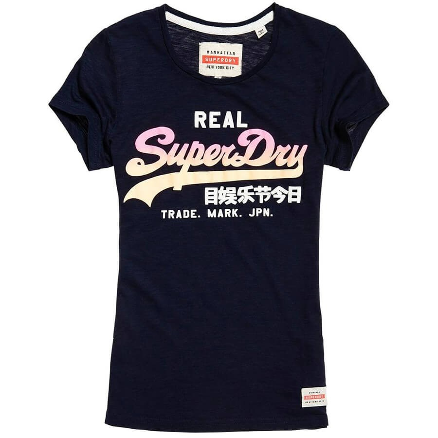 Superdry Vintage Logo Ombre Entry Tee - 7hq marina navy