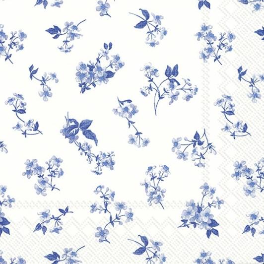 IHR White Blue Luncheon Napkin