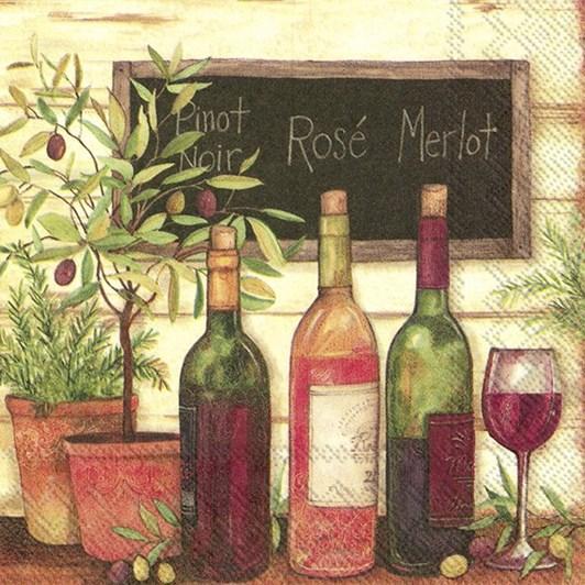 IHR Luncheon Napkin Wine & Olives