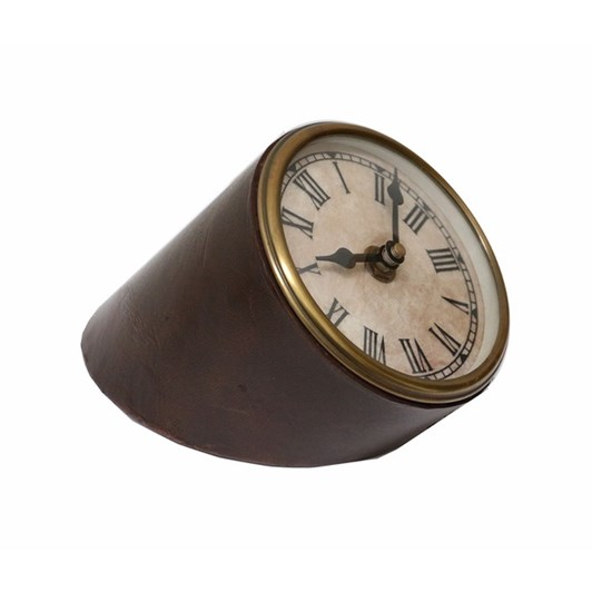 CC Interiors Slanted Clock In Leather And Brass