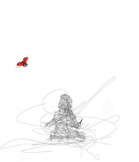 Ladybug Water Colour Contemporary Frame White 35x28cm