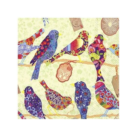 IHR Bloomy Birds Light Green Luncheon Napkin